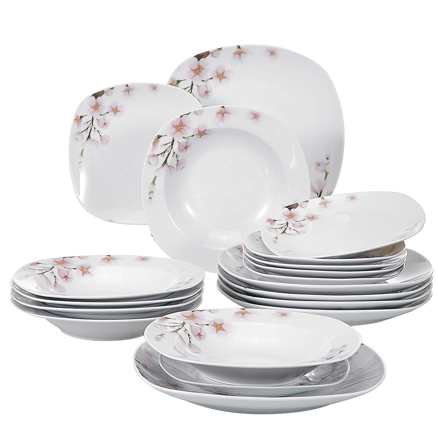 18-Piece Porcelain Stoneware Dinnerware Set Service for 6