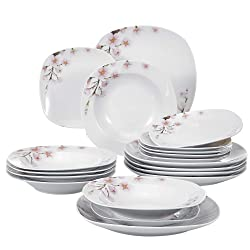 VEWEET 18-Piece Porcelain Stoneware Dinnerware Set Ivory White Flower Pattern Plate Sets, Service for 6 (Annie Series)
