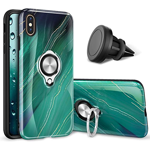 best service cb63a 97e4a eSamcore iPhone Xs Max Case – Luxury Marble Ring Holder Cases + Vent Car  Phone Mount for Apple iPhone X Xs Max 6.5 Inch [Emerald Green]