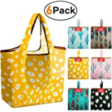 Large Grocery-Bags-Shopping-Reusable-Foldable-Bags 6 Pack With Square Pouch Grocery Bags Cloth Reusable Bags Ripstop Washable Bag Large Durable Light Weight Cactus Shrink Proof Tropical