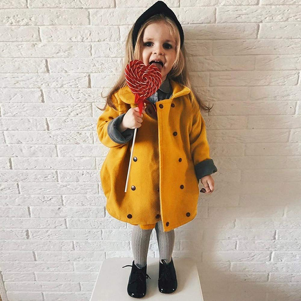 Lifestyler Fashion Girls Winter Solid Coat Casual Long Sleeve Cloak Jacket Thick Button Warm Outerwear Clothes