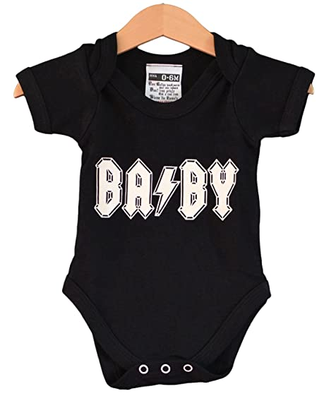 Ba por negro Onesie. Rock Baby Body homenaje a AC DC negro negro ... ed03e576364