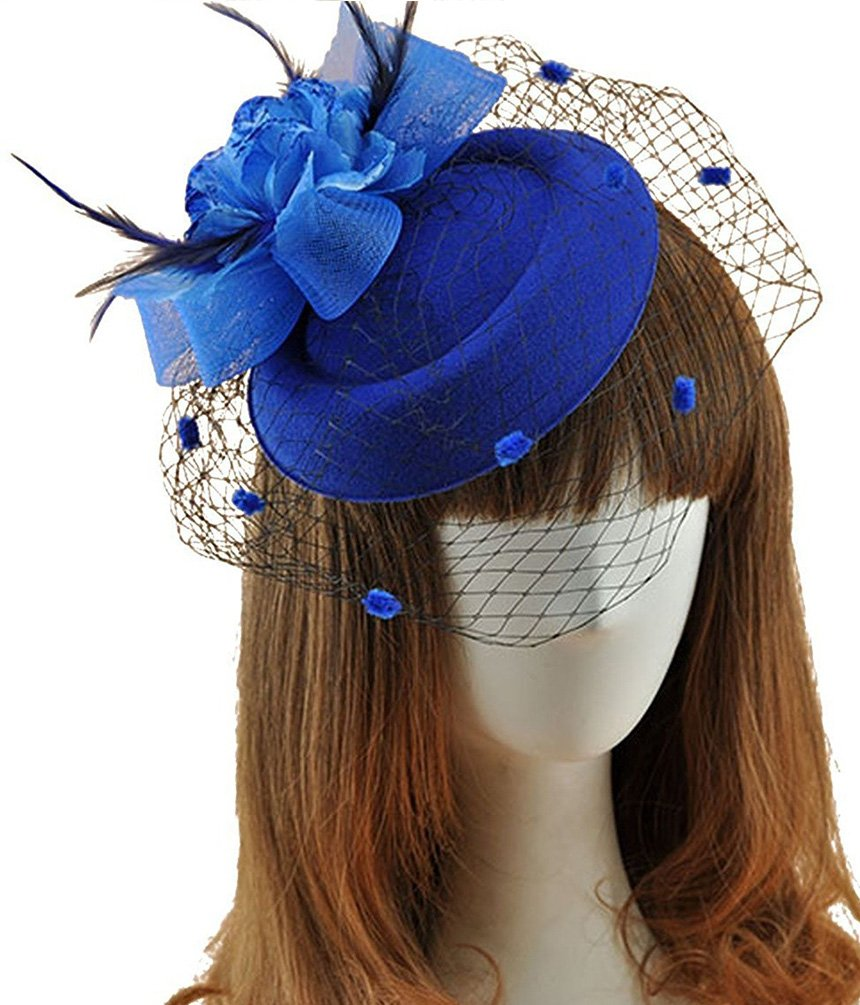 SportsWell Fascinator Hats Pillbox Feather Flower Veil Headwear Wedding Party Hat Royal Blue One Size