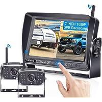 FHD 1080P Digital Wireless Dual Backup Camera 7'' DVR Monitor Kit Split Screen for Trailer/RV/Truck/Camper Rear/Side…