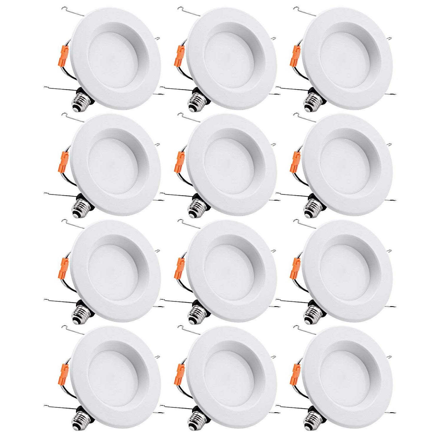 TORCHSTAR 15W 6inch Wet Location CRI90+ Dimmable 90W Equivalent Retrofit LED Recessed Lighting Fixture, Energy Star & ETL Classified Ceiling Light, 5000K Daylight 1250lm Remodel Downlight, 12-Pack