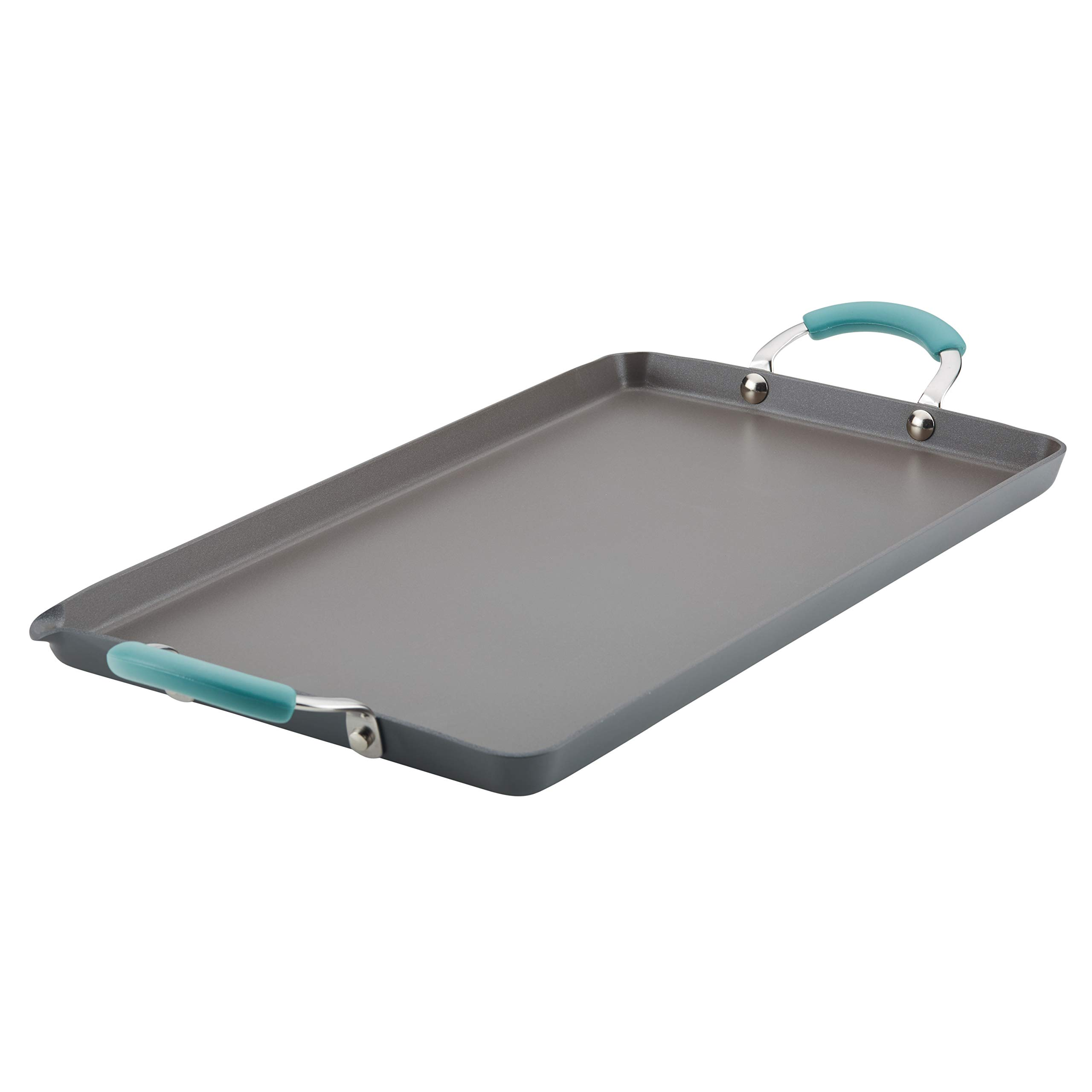 Rachael Ray Hard Anodized Nonstick 18-Inch by 10-Inch Double Burner Grill with Agave Blue Handles by Rachael Ray