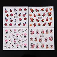 Niome 50 Sheets Nail Art Butterfly Feather Flower Water Decals Transfer Stickers Manicure DIY Decor