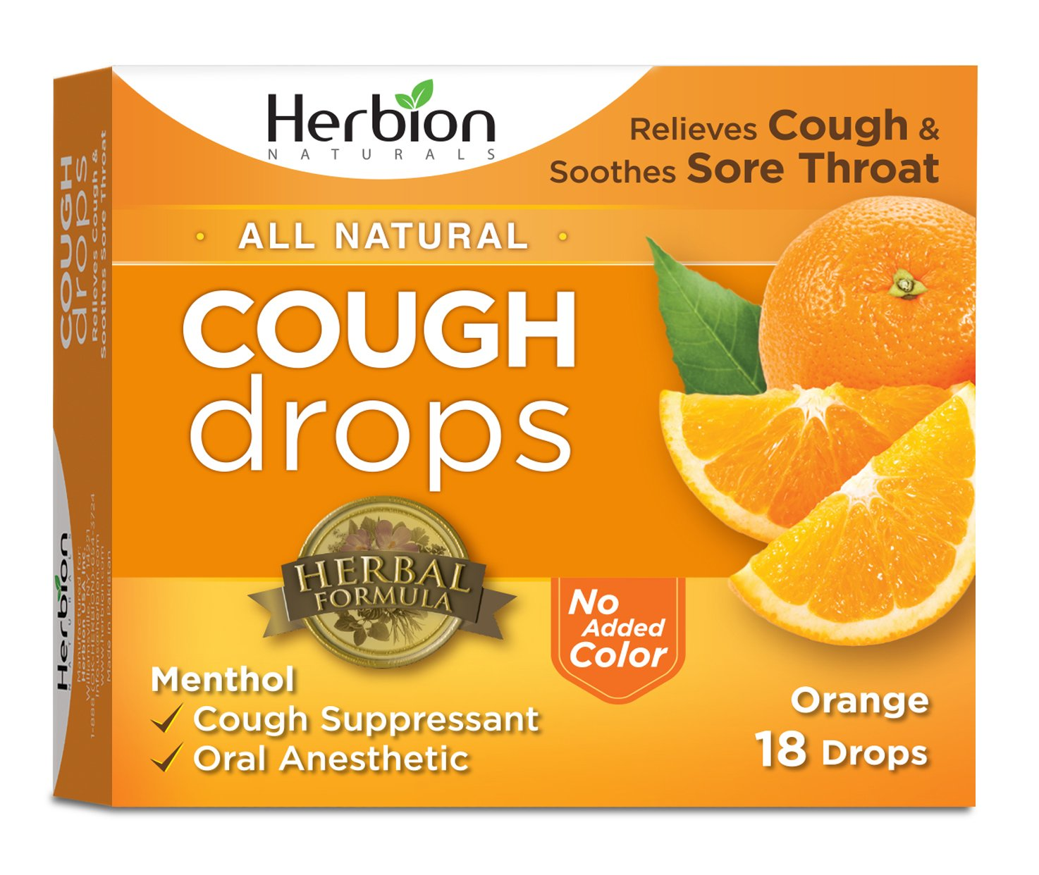 Herbion Naturals Cough Drops with Natural Orange Flavor, 18 Drops, Oral Anesthetic - Relieves Cough, Throat, Bronchial Irritation, Soothes Sore Mouth, For Adults and Children