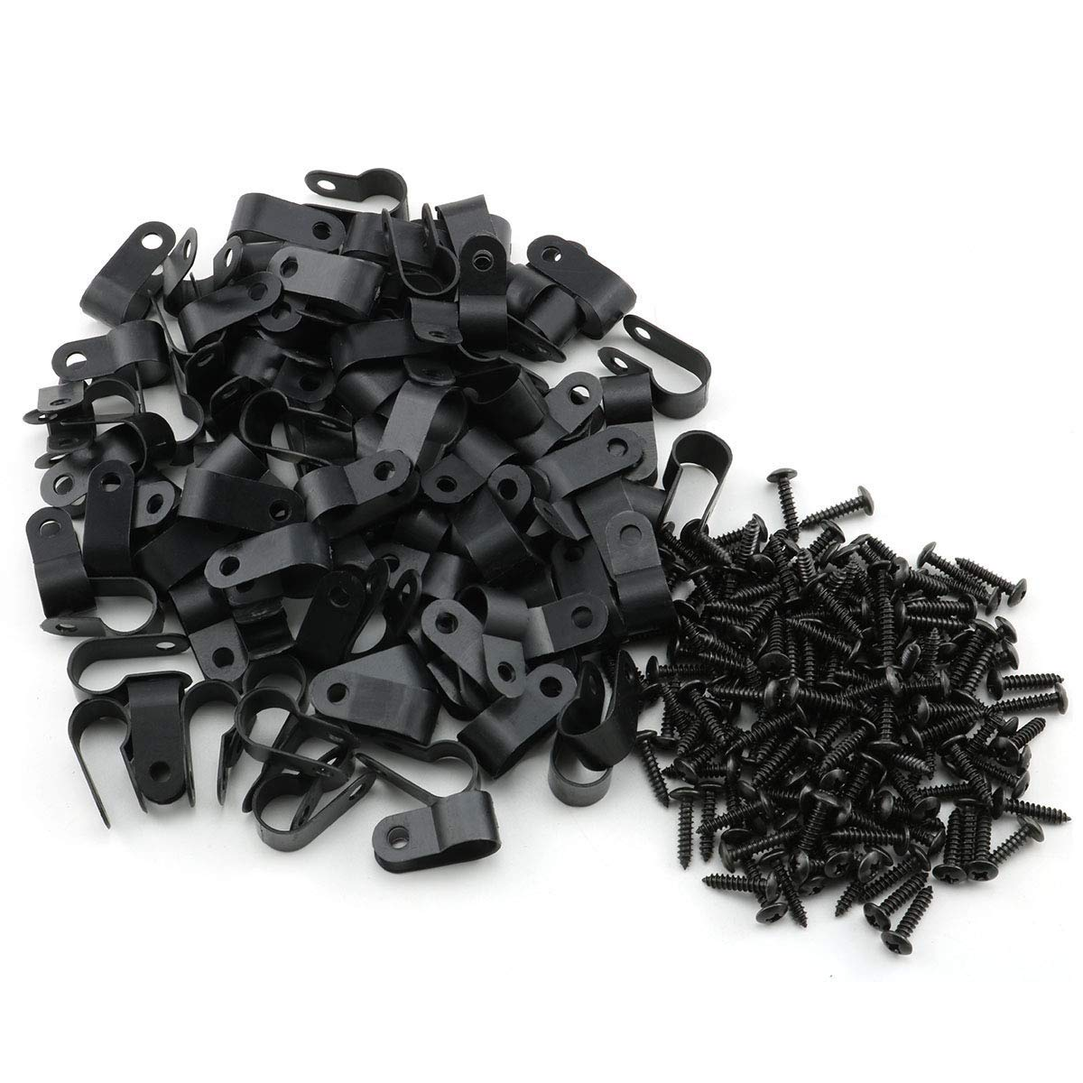 50 Pack 1 inch Home Nylon Mounting Cable Fastener Wire Clips Electrical Grip for Wire Management Office Wire Organizer Black Automotive Marine Screws Included Kyriad R-Type Clip Clamp