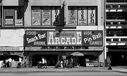 Vintography 8 x 12 Black White Photo Sassony Arcade Located on Broadway, Los Angeles,