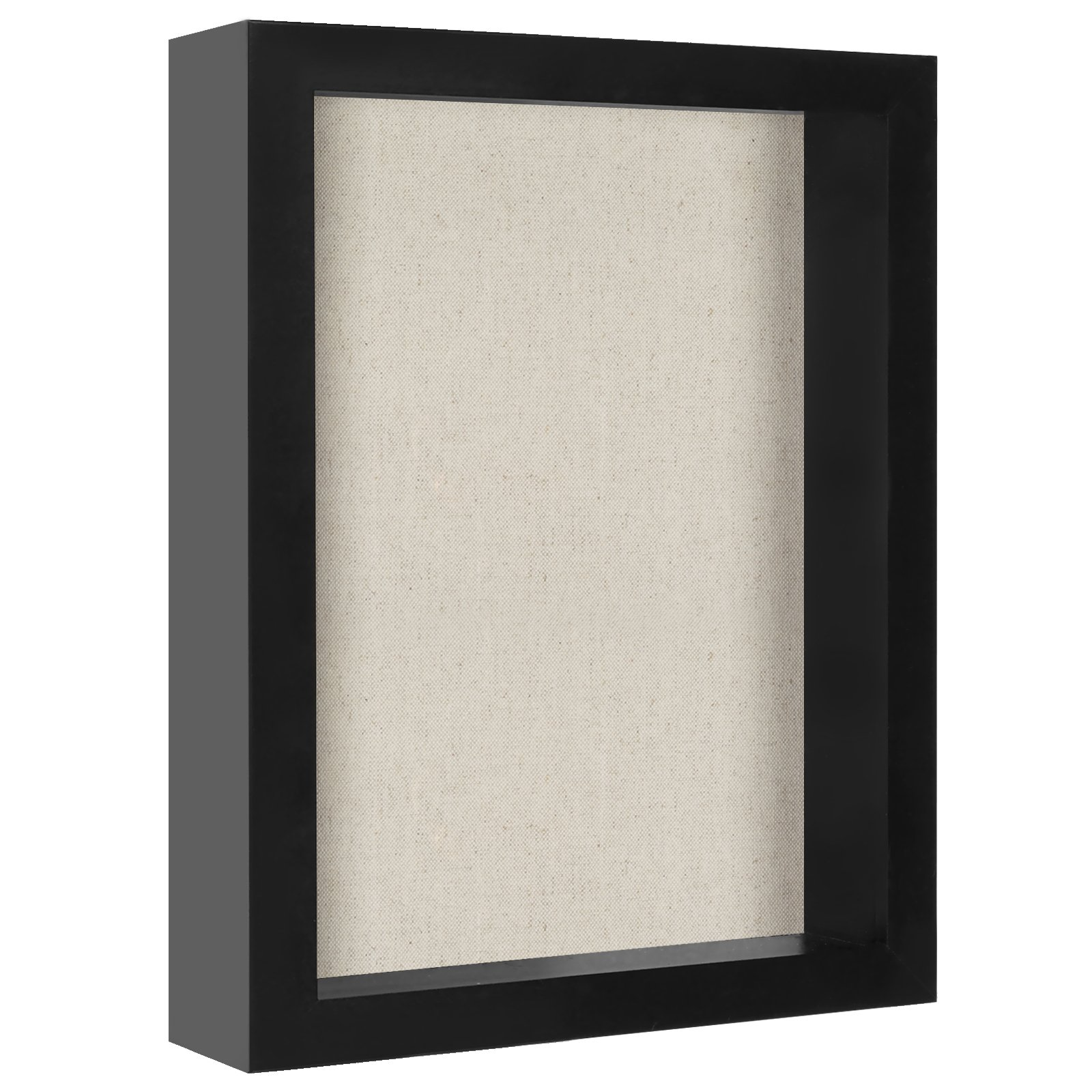 Americanflat 8x10 Shadow Box Frame Soft Linen Back - Perfect to Display Memorabilia, Pins, Awards, Medals, Tickets Photos