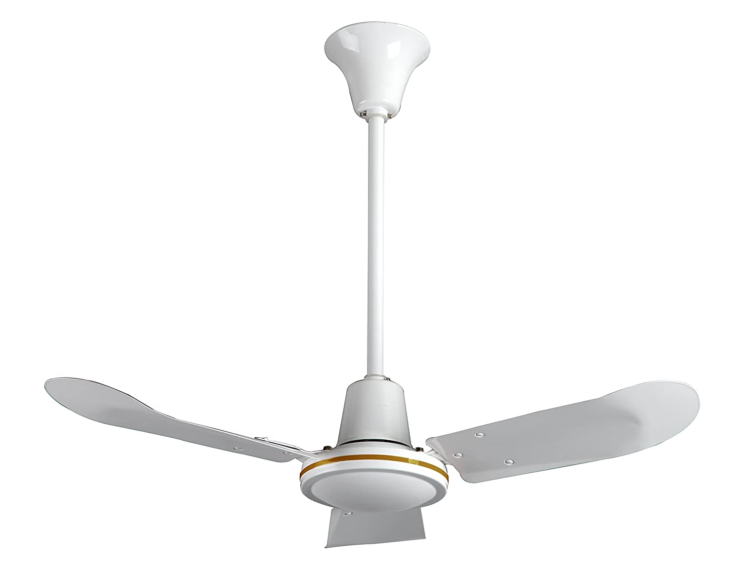 """VES 36"""" Commercial Ceiling Fan and Control, Forward/reverse, 18"""" Downrod, 120V, White"""