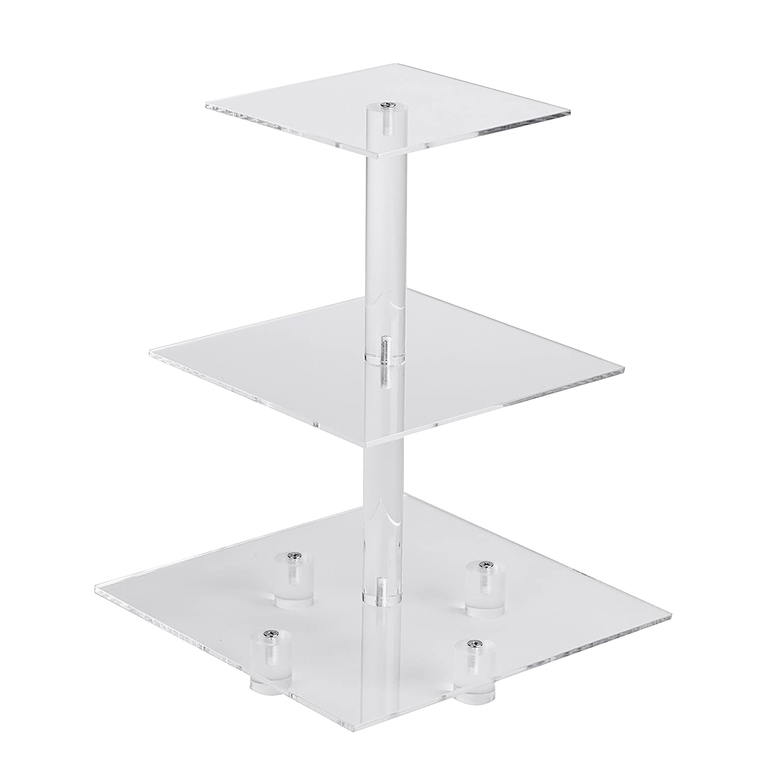 "YestBuy 3 Tiers Square Party Wedding Birthday Clear Tree Tower Acrylic Cupcake Stand 3 tier square with base(6"" between 2 layers)"