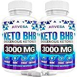 Keto Diet Pills - 5X Dose (2 Pack | 3000mg Keto BHB) - Best Exogenous Ketones BHB Supplement for Women and Men - Boost Energy