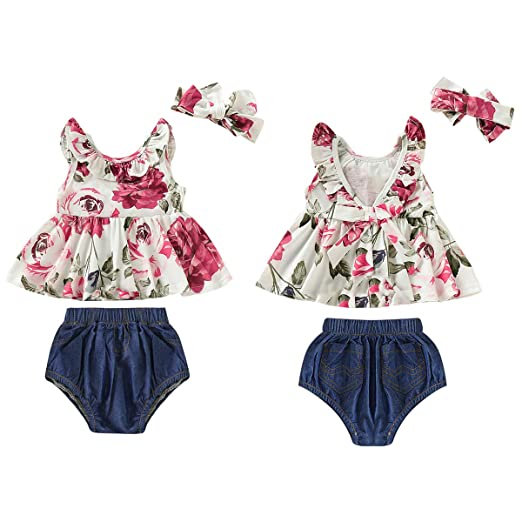 c444770d85a2 Toddler Baby Girls Clothes 3PCS Flower Ruffle T-Shirt Vest Tank Top+ Baby  Girl Jeans