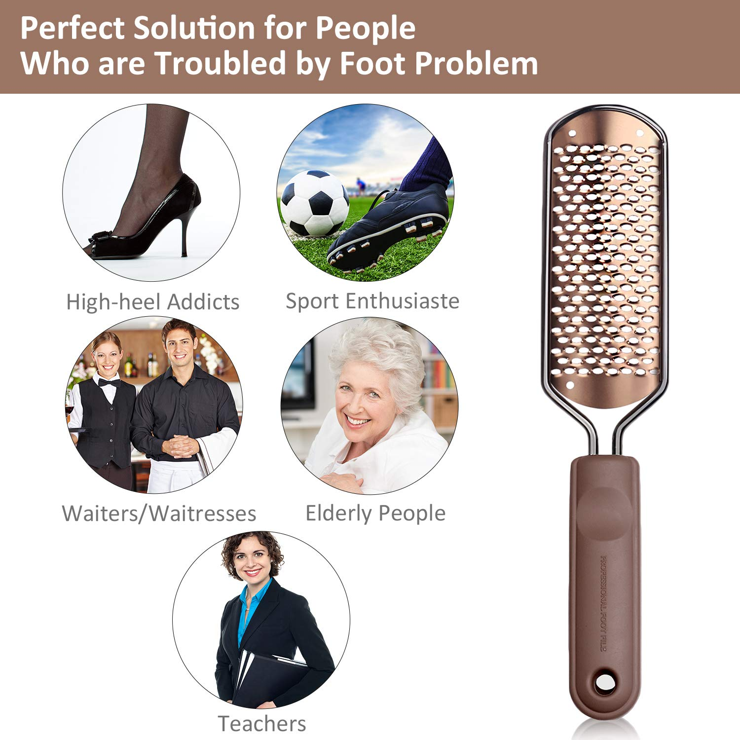 Pedicure Foot File Callus Remover - BTArtbox Large Foot Rasp Colossal Foot Scrubber Professional Stainless Steel Callus File for Wet and Dry Feet : Beauty
