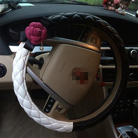 . Amazon com  Camellias flower Shape PU leather cute steering wheel