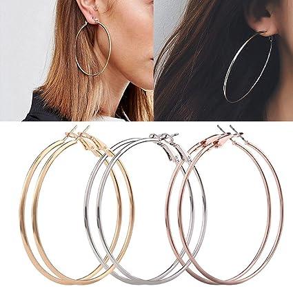 27b30e07a Amazon.com: Hemlock Big Round Earrings, Women Girl's Large Circle Earrings  Round Hoop Earrings Ear Stud (3 PCS): Car Electronics