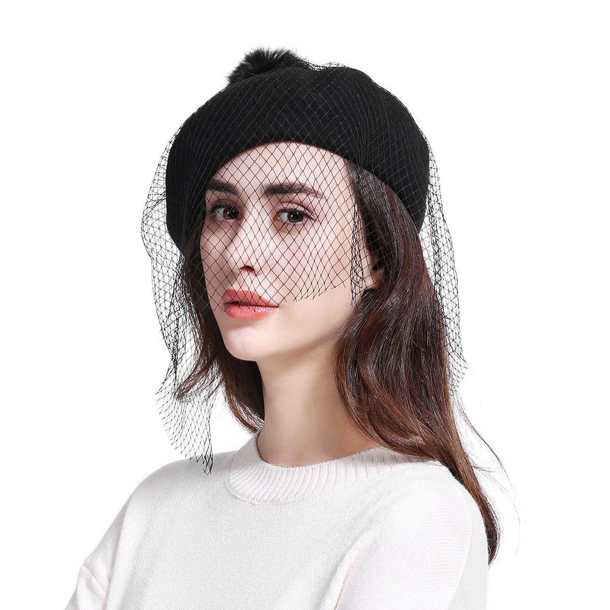 JOOWEN Women's Franch Inspired Wool Felt Beret Hat with Veil Cocktail Hat (Pom-Black)