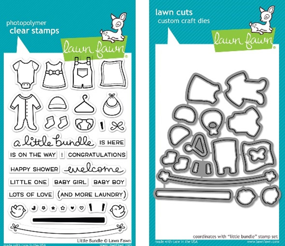 Lawn Fawn Little Bundle Clear Stamp and Die Set - Includes One Each of LF1127 Stamp & LF1128 Die - Bundle Of 2