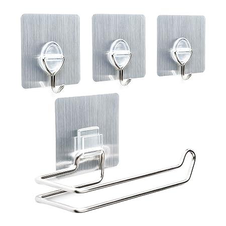 Toilet Roll Holder & 3 Hooks Bundle- Stainless Steel Wall Mount ...