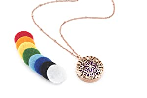 """Flower Burst Essential Oil Diffuser Necklace (Rose Gold) - Hypoallergenic 316L Surgical Grade Stainless Steel, 21"""" Chain + 9 Washable Insert Pads"""