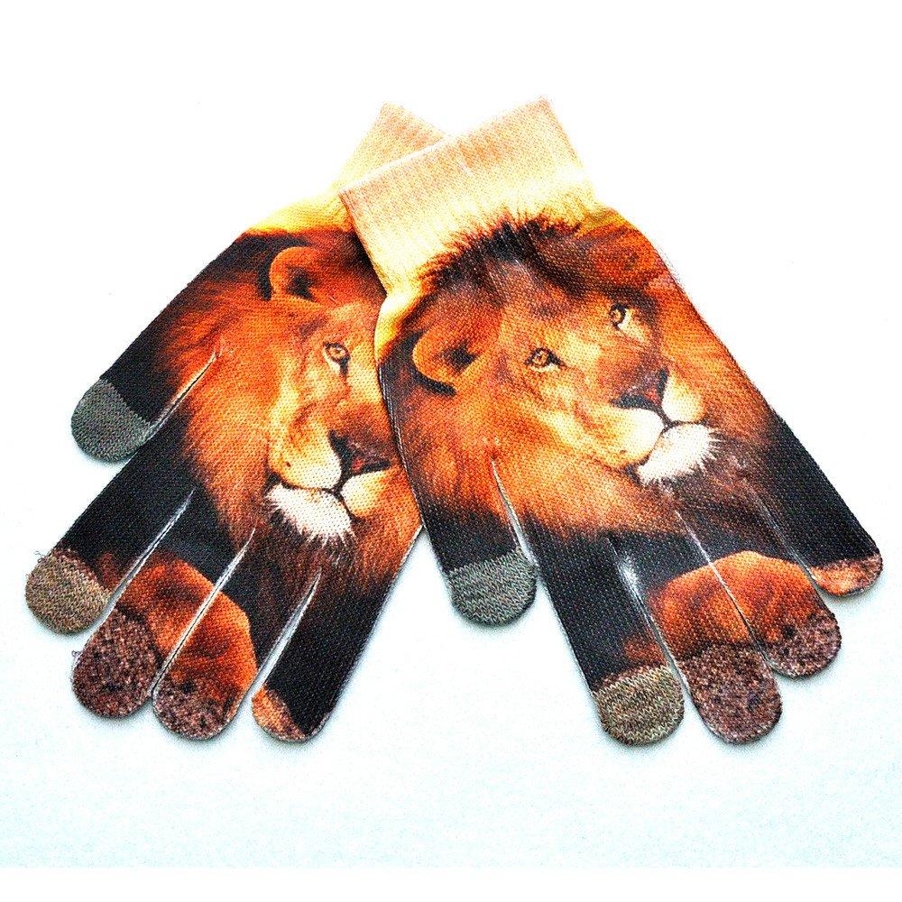 iTLOTL Men Women Winter Warm 3D Print Knitted Phone Screen Kitty Pet Cute Gloves H