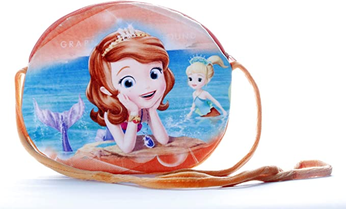 HC Toys LLP   Mermaid Princesses Soft Cute Cartoon Printed Canvas Material Sling Bags for Baby Girls Kids Casual Purse (Age 1 to 8 Years)   Red