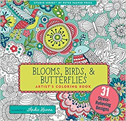 Amazon Blooms Birds And Butterflies Adult Coloring Book 31