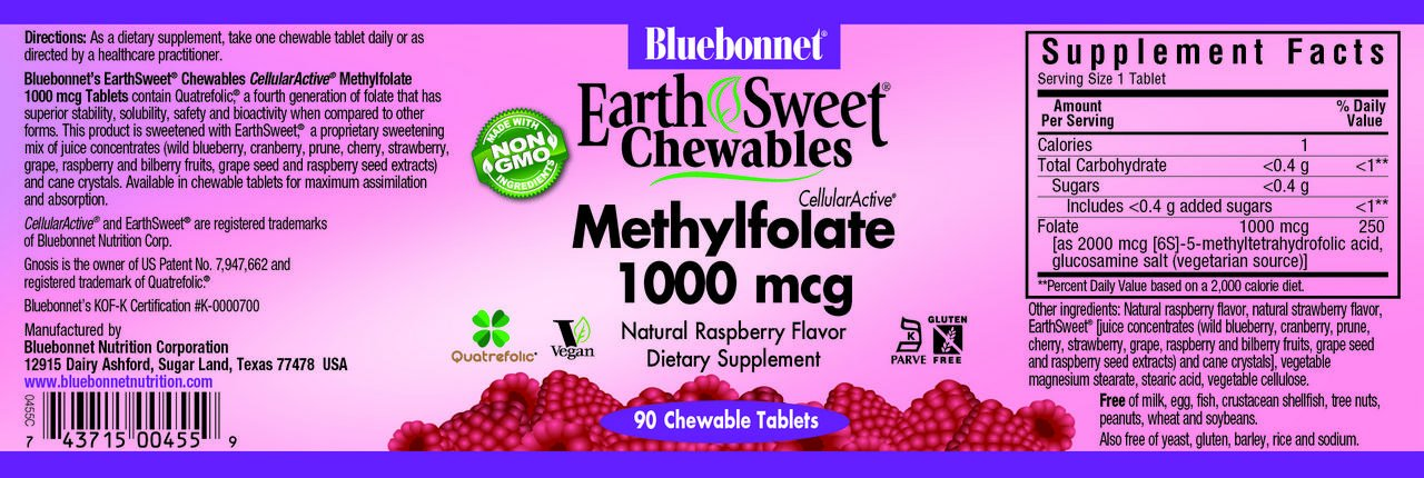 Bluebonnet Earth Sweet Cellular Active Methylfolate 1000 mcg Chewable Tablets, 90 Count by Bluebonnet