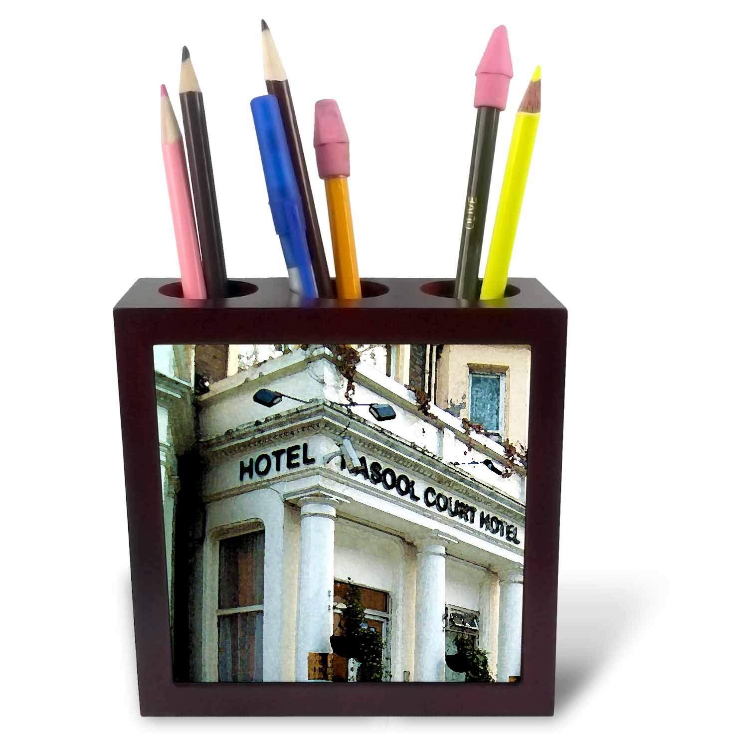 3dRose Jos Fauxtographee- London Watercolor Hotel - The Rasool Hotel in London Done in a Watercolor Effect - 5 inch Tile Pen Holder (ph_291340_1)