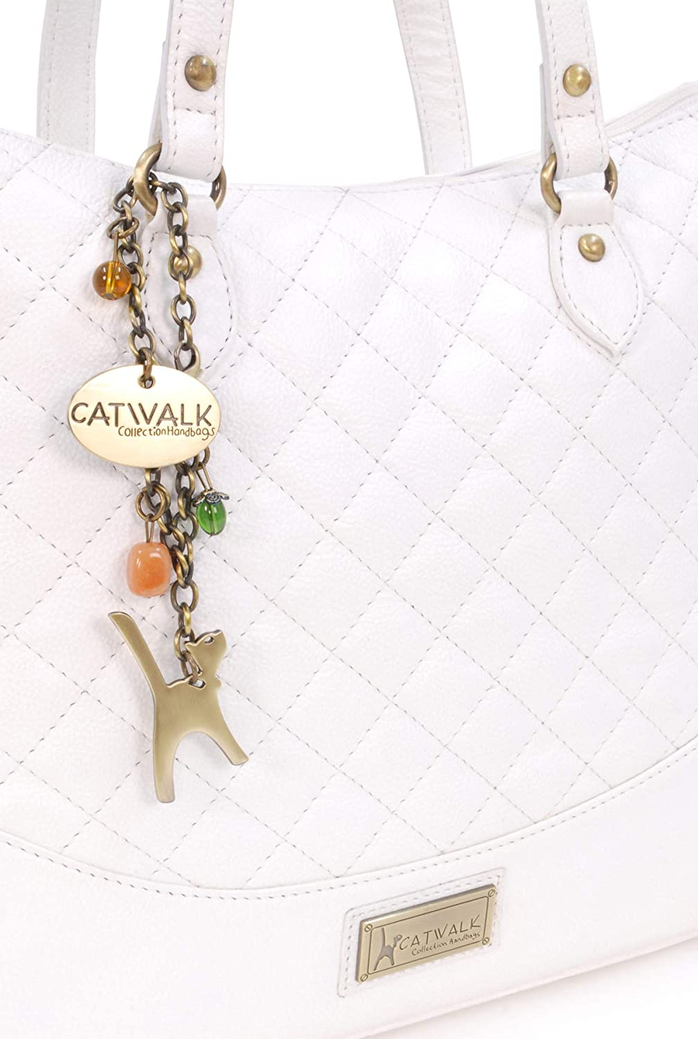 CATWALK COLLECTION - Bolso de hombro/Tote - Cuero Acolchado - SOFIA - Blanco: Amazon.es: Zapatos y complementos