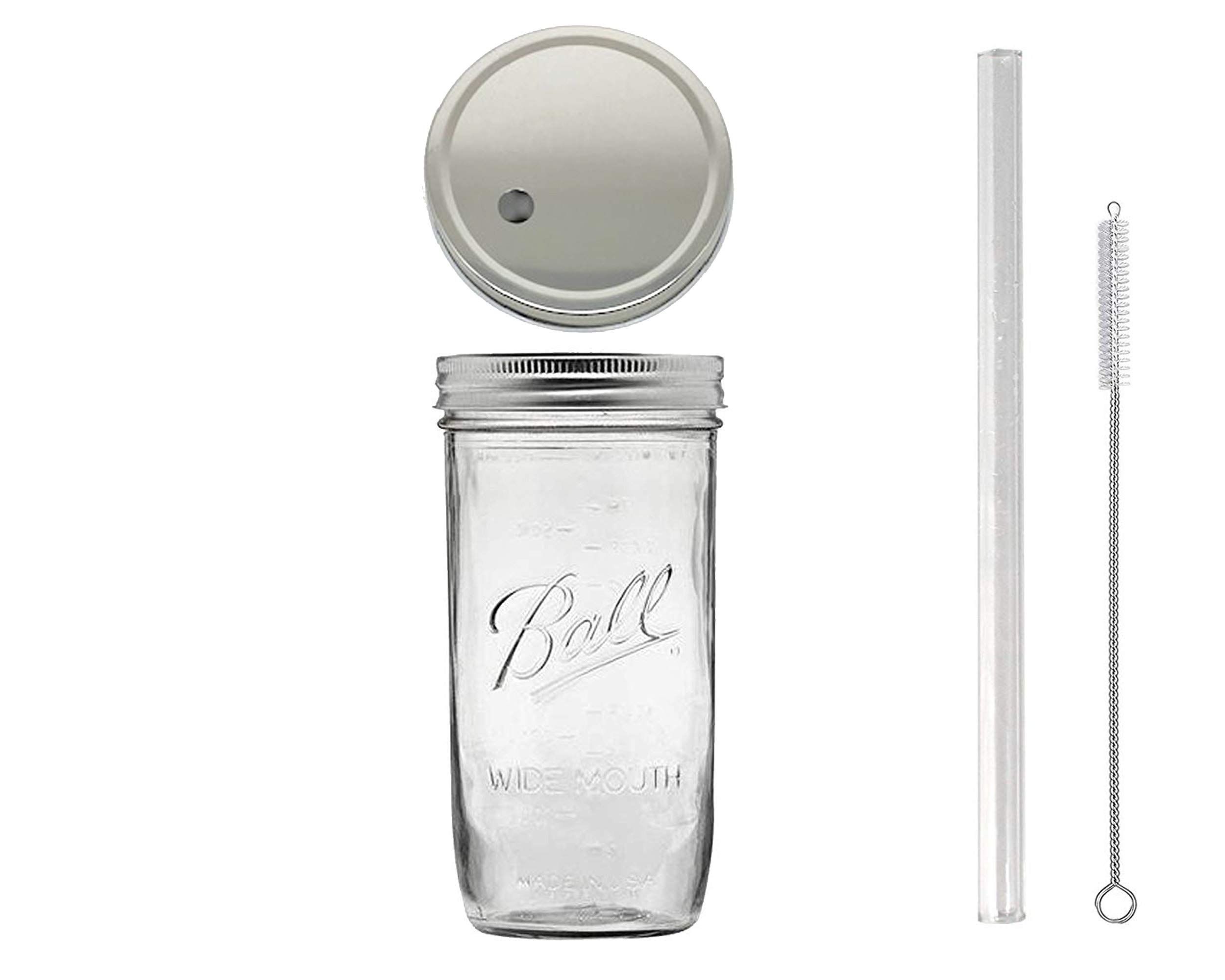 24 oz Wide Mouth Glass Mason Drinking Jar with Silver Lid, Glass Straw (10''x 9.5mm) and 1 Straw Cleaner (1)