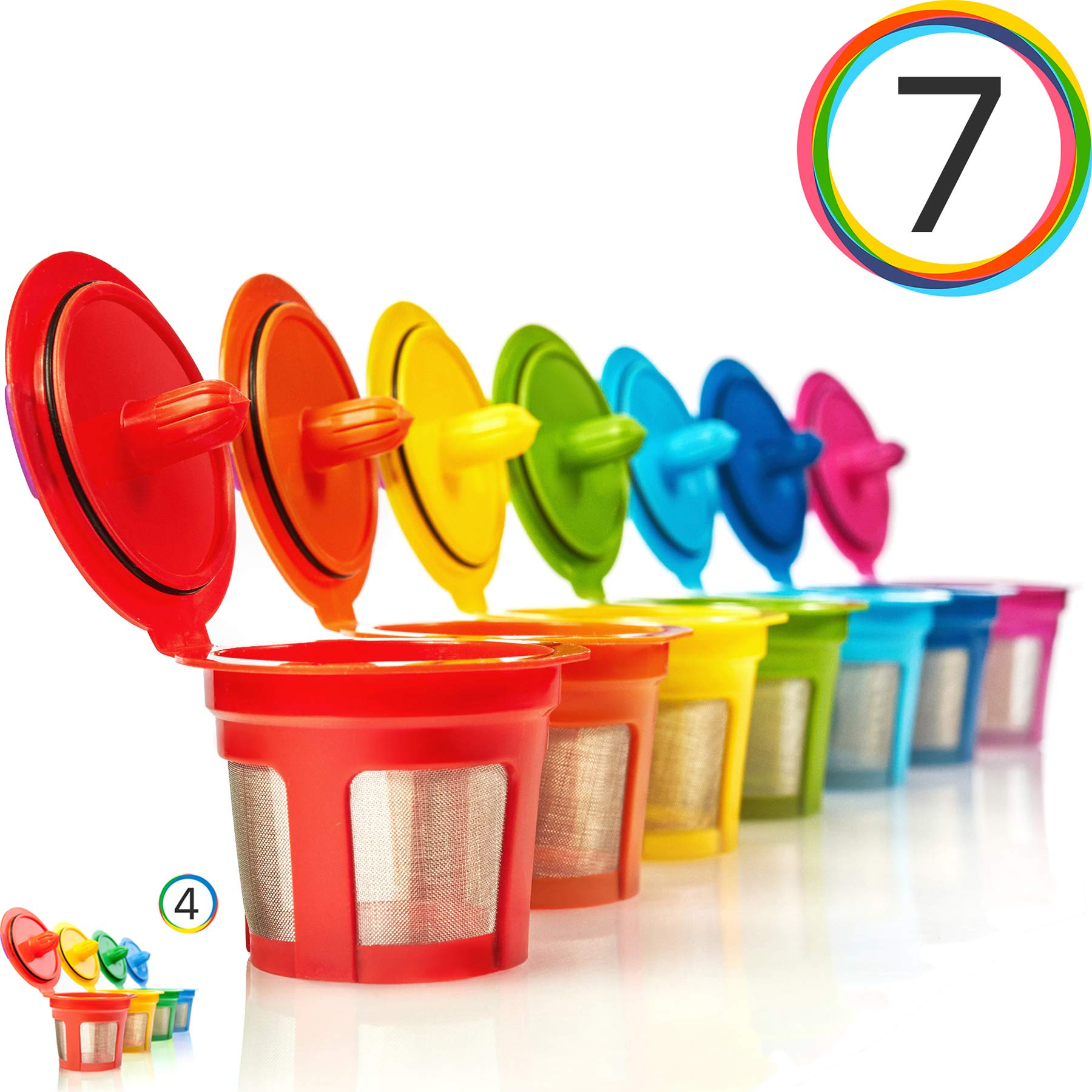 GoodCups 7 Reusable Rainbow Colors K Cups Refillable KCups Coffee Filters for Keurig 2.0, K200, K250, K300, K350, K400, K450, K460, K500, K550, K560 and 1.0 Brewers by GoodCups®