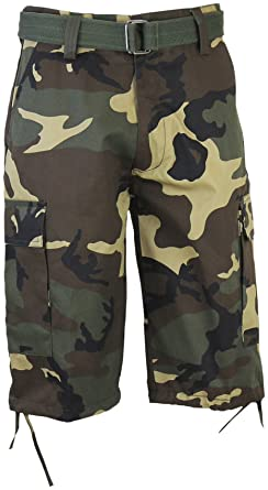 92ea3974cc Regal Wear Mens Camouflage Cargo Shorts with Belt, Camo New Woodland, 36:  Amazon.co.uk: Clothing