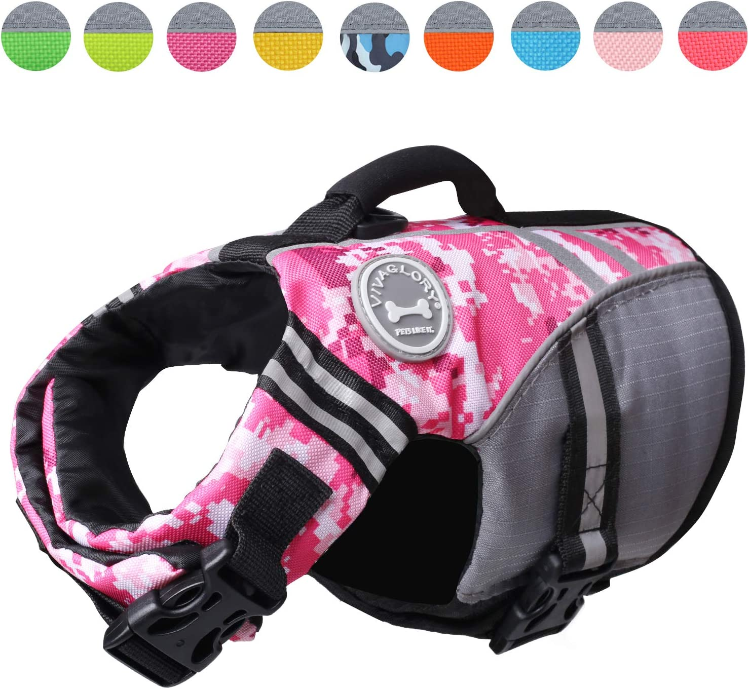 VIVAGLORY New Sports Style Ripstop Dog Life Jacket with Superior Buoyancy /& Rescue Handle Camo Blue XS