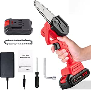 Mini Chainsaw Cordless Upgrade 4 inch Battery Powered Handheld Electric Hand Saw Small Portable One Hand Operated Pruning Saw with Rechargeable Battery for Tree Trimming Wood Cutting