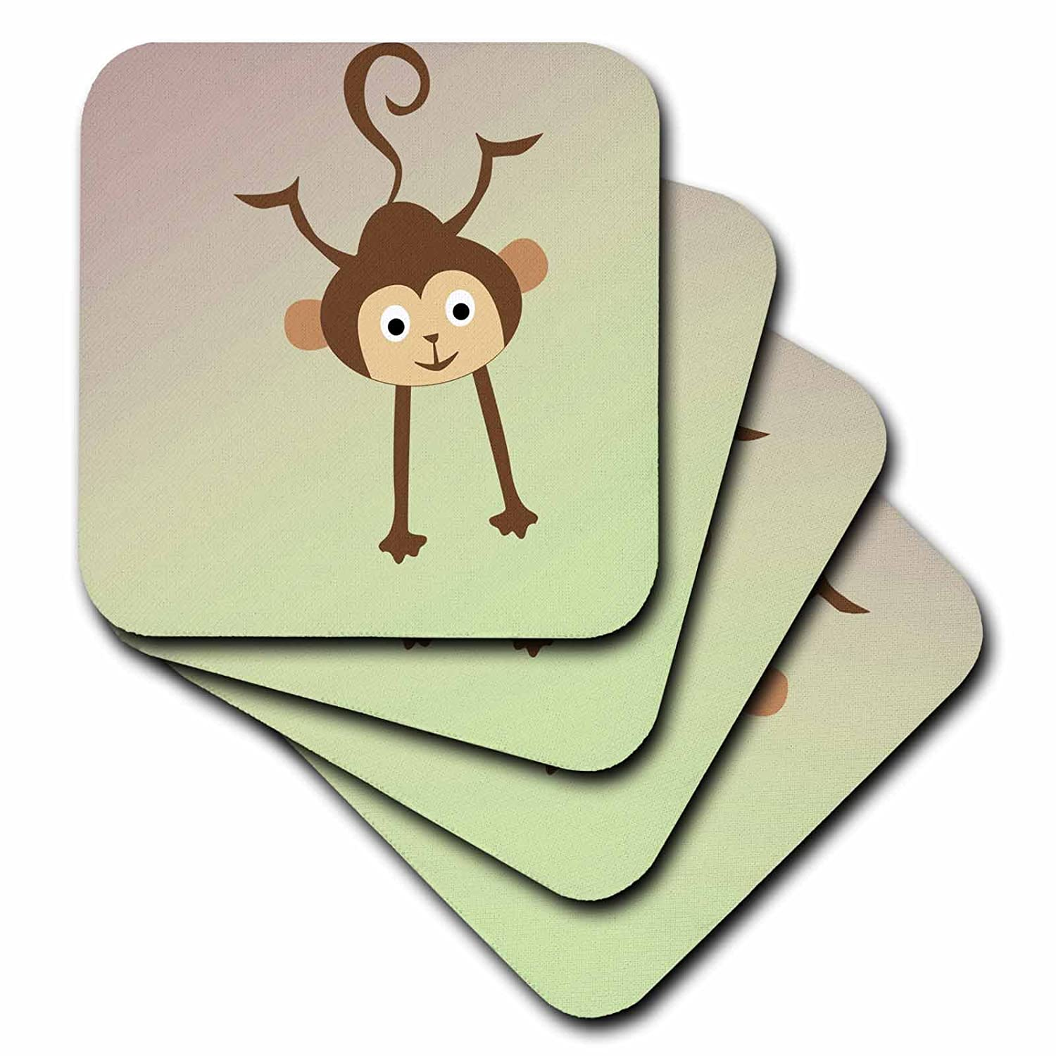 3dRose cst/_79254/_2 Happy Playful Monkey Childrens Art Animals Soft Coasters Set of 8