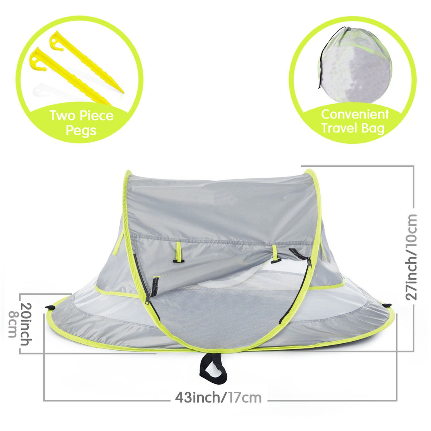 Micoo Baby Travel Tent, Portable Beach Pop Up Tent, Large Baby Travel Bed,UPF 50+ Sun Travel Cribs Bed, Mosquito Net and Sunshade, Lightweight Outdoor Travel Baby Crib Bed for Infant and Babies by Micoo (Image #3)