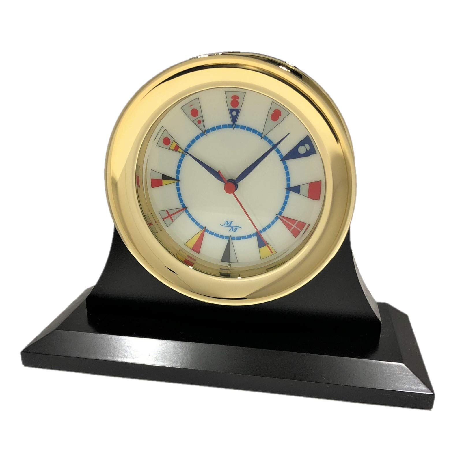 """Master-Mariner American Voyager Collection, Nautical Windlass Clock, 5.85"""", Gold Finish, Ivory Signal Flag dial and a Single Cradle Base, Ebony Finish, with Silvertone and Goldtone Nameplates"""
