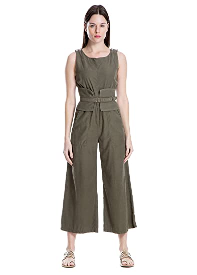 a8cf6e404f6 Amazon.com  MAXSTUDIO Belted Jumpsuit Womens Romper One-Piece Military   Clothing