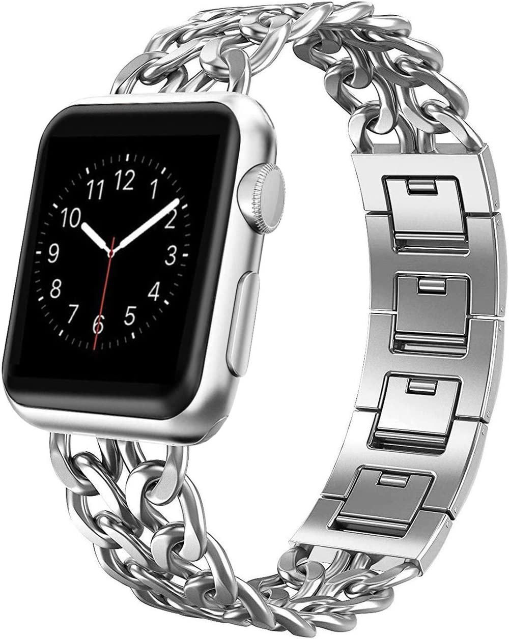 Apple Watch Band, Aokay 38mm Stainless Steel Metal Cowboy Chain Band for Apple Watch Series 3 Series 2 Series 1 Sport and Edition 38mm, Silver