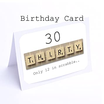 Birthday Card Scrabble 30th Birthday Cards Amazoncouk Office