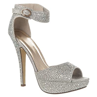 5a2bb540e0 Womens High Heel Platform Sandals With Ankle Strap Open Toe Shoe  Embellished With Small Diamante Stones: Amazon.co.uk: Shoes & Bags