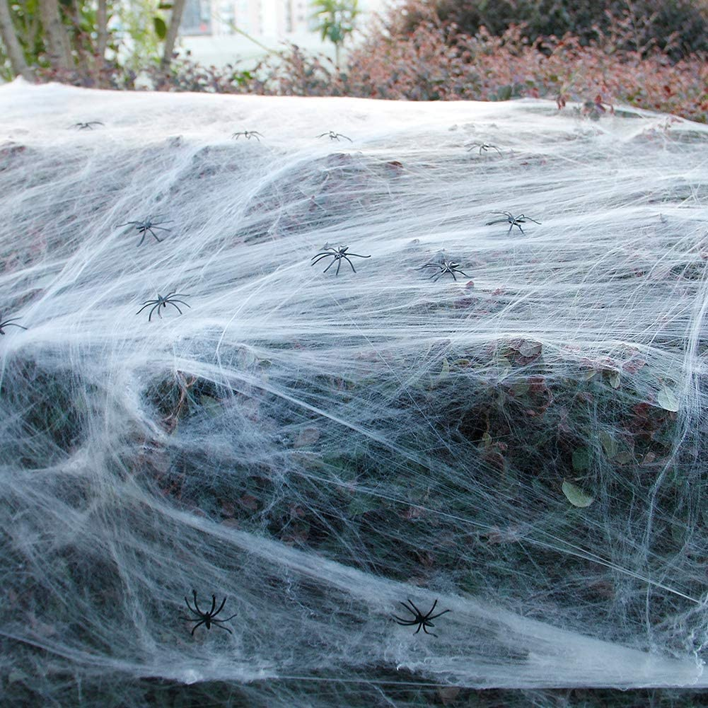 Zcaukya Halloween Spider Web Decoration, 1000 sqft Stretchable Cotton Spider Web with 60 Small Spiders, Halloween Indoor and Outdoor Cobweb Decoration