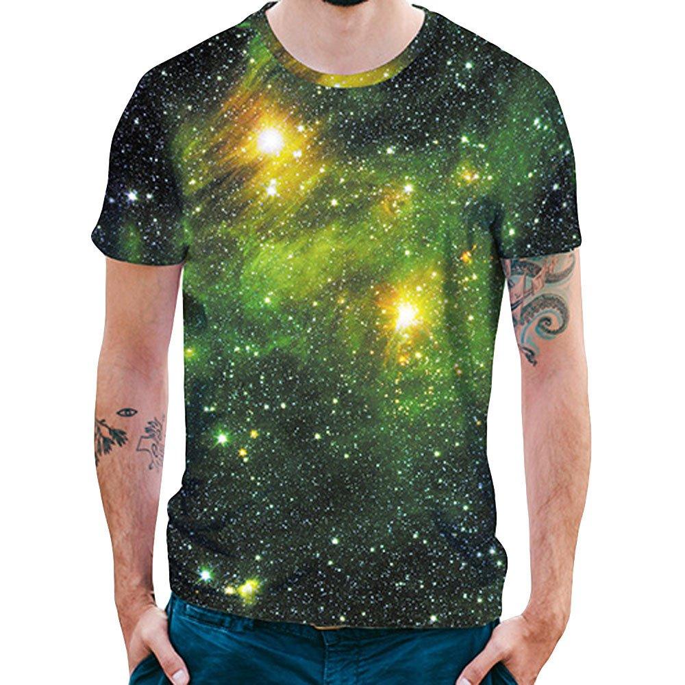 Cebbay Camisetas Hombre Estampado Estrella 3D con Cuello Redondo Casual Camisas de Hombre Camisa Polo