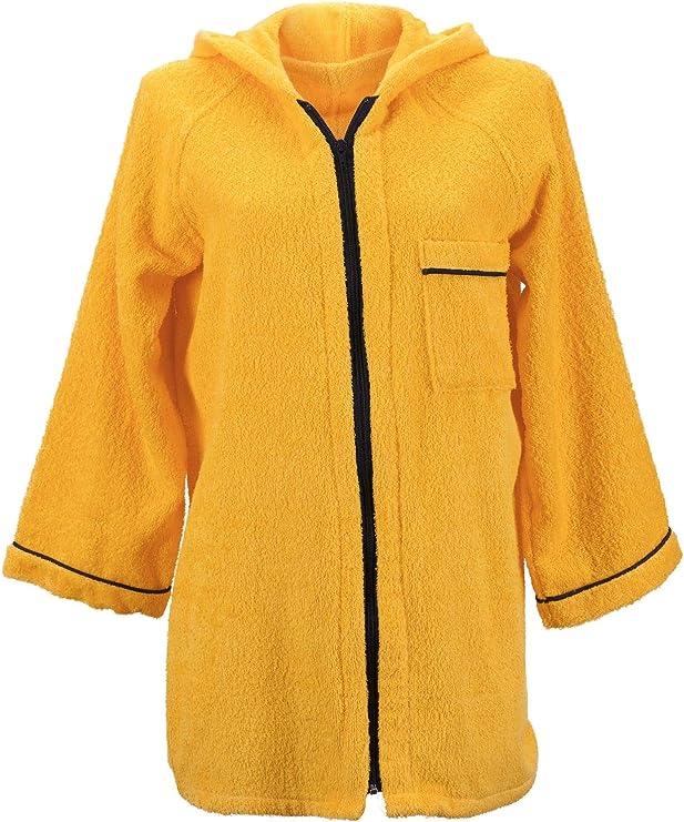 Lady Bella - Albornoz para mujer con capucha de rizo de puro algodón - Práctico cierre de cremallera - Modelo corto de alta absorción ideal para gimnasio y piscina (amarillo, grande): Amazon.es: Hogar