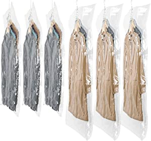 SunHorde Hanging Vacuum Storage Bags 6 Pack Space Saver Vacuum Seal Bags, Jumbo and Large, for Seasonal Clothes, Dress, Coat, Closet Organizer with 5 Heavy Duty Hanging Hooks, Reusable & Easy to Use