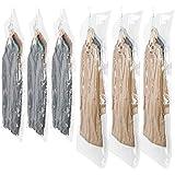 SunHorde Hanging Vacuum Storage Bags 6 Pack Space Saver Vacuum Seal Bags, Jumbo and Large, for Seasonal Clothes, Dress, Coat,