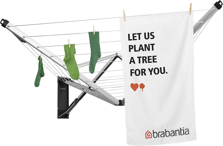 Brabantia 475924 aluminio 24 metros de cuerda Tendedero de ropa plegable de pared Wallfix color gris metalizado con caja de almacenamiento en acero